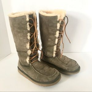 UGG Whitley Lace Up Tall Suede Olive Boots US 7